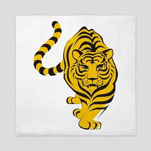 Yellow Tiger Icon Queen Duvet