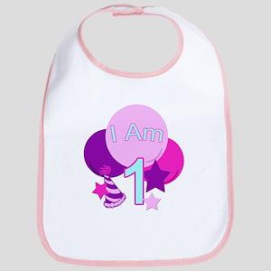 I Am 1 Birthday pastel Bib