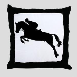 Horse show jumping Throw Pillow