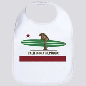 California Surfing Bear Longboard Baby Bib