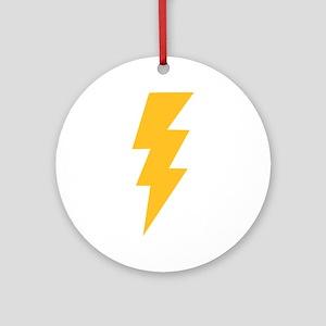 Yellow Flash Lightning Bolt Ornament (Round)