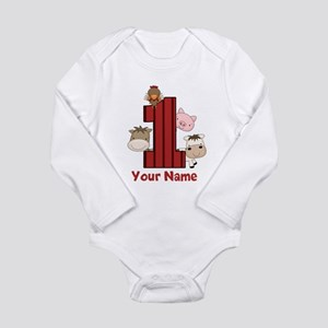 1st Birthday Farm Long Sleeve Infant Bodysuit