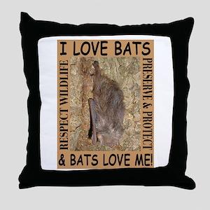 I Love Bats & Bats Love Me Throw Pillow