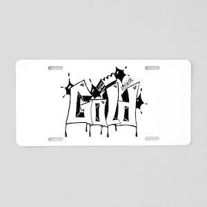 Gold Graffiti Aluminum License Plate