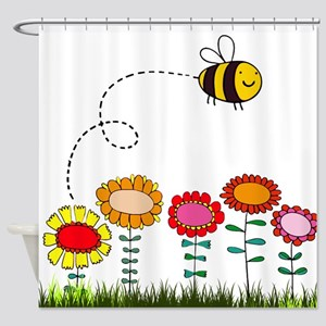 Bee Buzzing Flowers in Garden White Shower Curtain