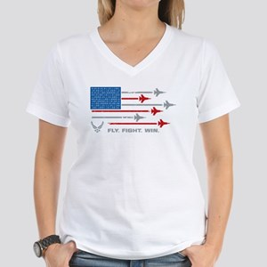 USAF Fly Fight Win Women's V-Neck T-Shirt