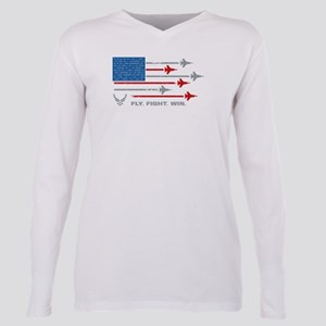 USAF Fly Fight Win Plus Size Long Sleeve Tee