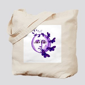 Bespectacled Moon with Moths Tote Bag