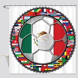 Mexico Flag World Cup No Labe Shower Curtain