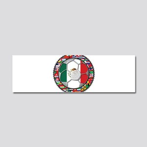 Mexico Flag World Cup No Labe Car Magnet 10 x 3