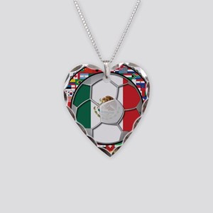 Mexico Flag World Cup No Labe Necklace Heart Charm