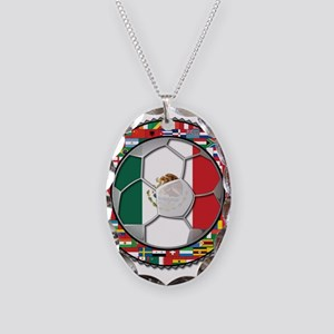 Mexico Flag World Cup No Labe Necklace Oval Charm