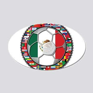 Mexico Flag World Cup No Labe 22x14 Oval Wall Peel