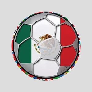 """Mexico Flag World Cup No Labe 3.5"""" Button"""