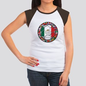Mexico Flag World Cup No Labe Women's Cap Sleeve T