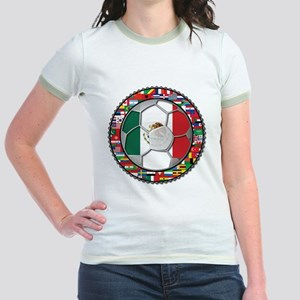 Mexico Flag World Cup No Labe Jr. Ringer T-Shirt