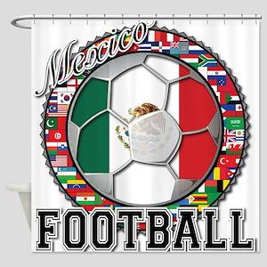 Mexico Flag World Cup Footbal Shower Curtain