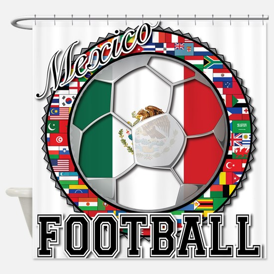 Mexico Flag World Cup Footbal Shower Curtain