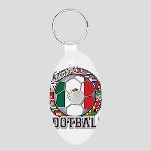 Mexico Flag World Cup Footbal Aluminum Oval Keycha