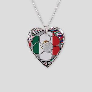 Mexico Flag World Cup Footbal Necklace Heart Charm
