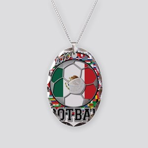 Mexico Flag World Cup Footbal Necklace Oval Charm