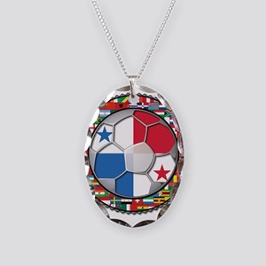 Panama Flag World Cup No Labe Necklace Oval Charm