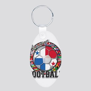 Panama Flag World Cup Footbal Aluminum Oval Keycha