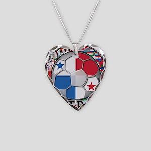 Panama Flag World Cup Footbal Necklace Heart Charm