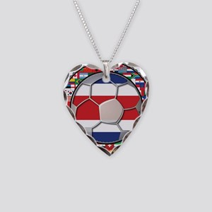 Costa Rica Flag World Cup No Necklace Heart Charm