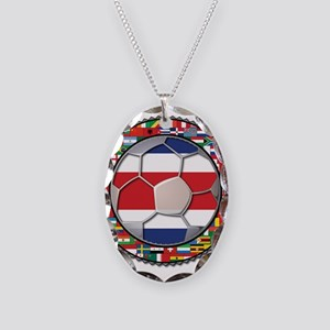 Costa Rica Flag World Cup No Necklace Oval Charm