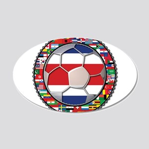 Costa Rica Flag World Cup No 22x14 Oval Wall Peel
