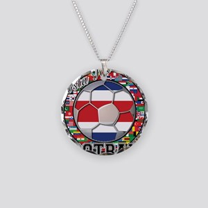 Costa Rica Flag World Cup Foo Necklace Circle Char