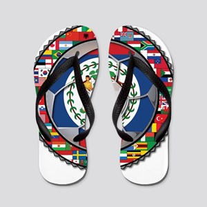 Belize Flag World Cup No Labe Flip Flops