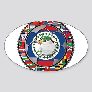 Belize Flag World Cup No Labe Sticker (Oval)