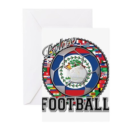 Belize Flag World Cup Footbal Greeting Cards (Pk o