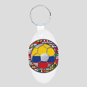 Colombia Flag World Cup No La Aluminum Oval Keycha