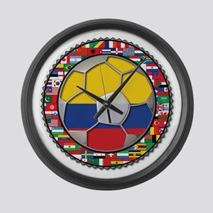 Colombia Flag World Cup No La Large Wall Clock