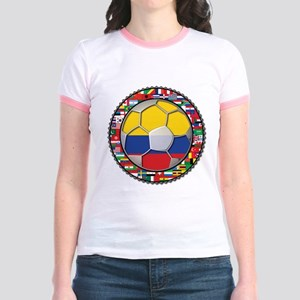 Colombia Flag World Cup No La Jr. Ringer T-Shirt