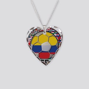 Colombia Flag World Cup Footb Necklace Heart Charm