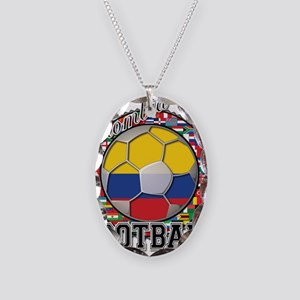 Colombia Flag World Cup Footb Necklace Oval Charm