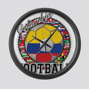 Colombia Flag World Cup Footb Large Wall Clock