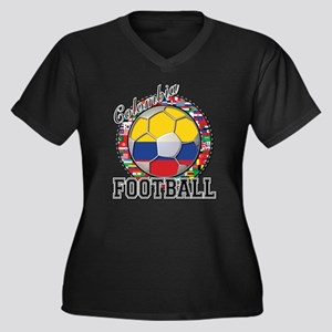 Colombia Flag World Cup Footb Women's Plus Size V-
