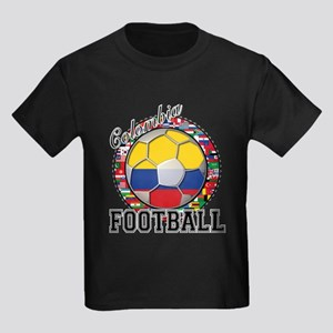 Colombia Flag World Cup Footb Kids Dark T-Shirt
