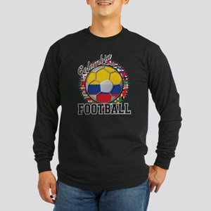 Colombia Flag World Cup Footb Long Sleeve Dark T-S