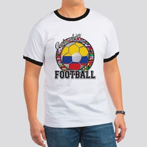 Colombia Flag World Cup Footb Ringer T