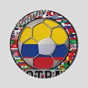 Colombia Flag World Cup Footb Ornament (Round)