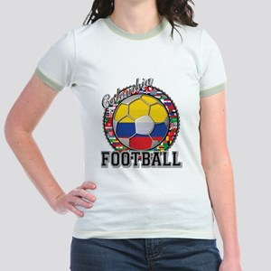 Colombia Flag World Cup Footb Jr. Ringer T-Shirt
