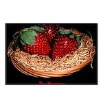 Three Strawberries Postcards (Package of 8)