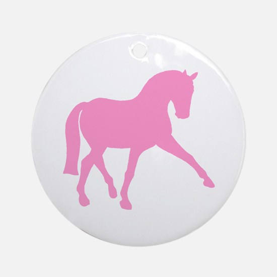 Sidepass Dressage Horse Pink Ornament (Round)