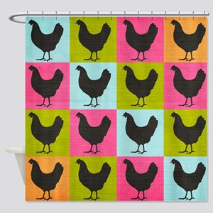 Chicken Pop Art Shower Curtain
